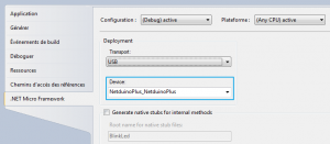 Sélection carte Netduino - deploiement Visual Studio