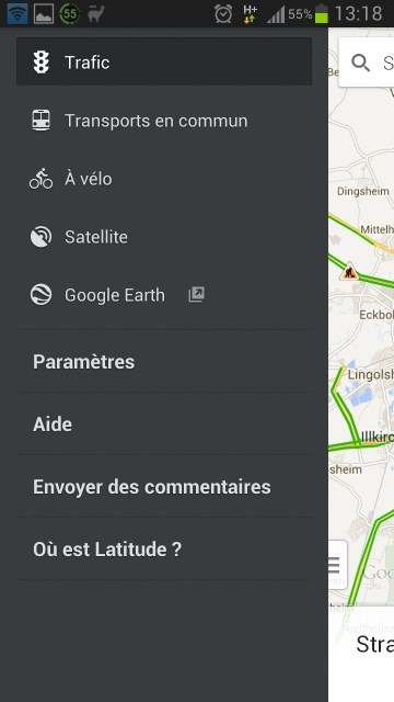 Google maps : activer trafic info